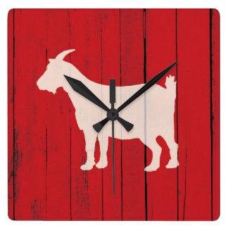 Horloge Carrée Panneau en bois rouge de chèvre rustique de ferme