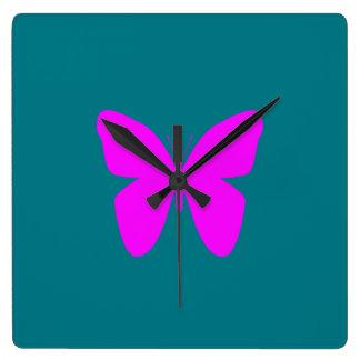 Horloge Carrée Papillon rose