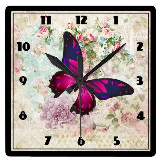 Horloge Carrée Papillon rose et roses vintages minables
