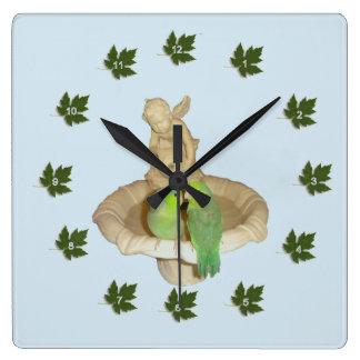 Horloge Carrée Parrotlets vert
