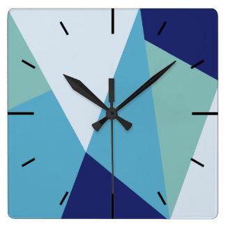 Horloge Carrée Pastel géométrique élégant de bleu marine et de
