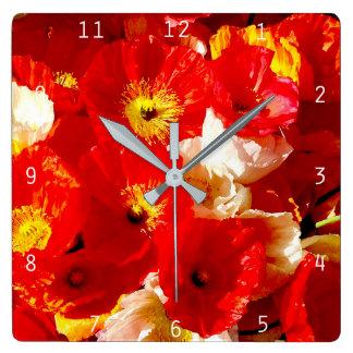 Horloge Carrée Pavot-coq