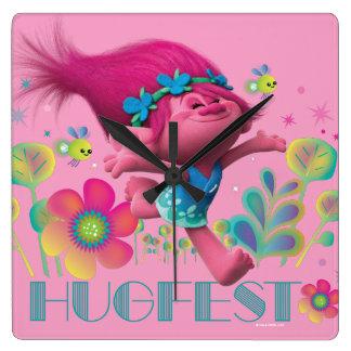 Horloge Carrée Pavot des trolls   - Hugfest