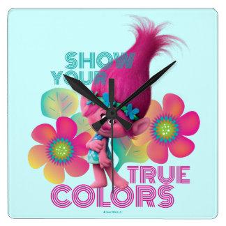 Horloge Carrée Pavot des trolls   - montrez vos couleurs vraies