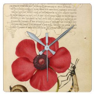 Horloge Carrée Pavot rouge et l'insecte