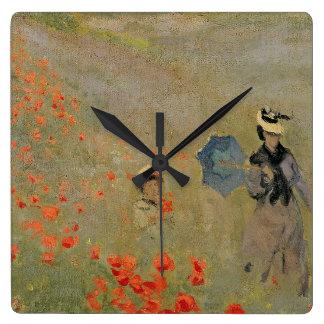 Horloge Carrée Pavots sauvages de Claude Monet  , près