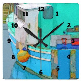Horloge Carrée Pêche allée