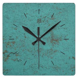 Horloge Carrée Peinture bleue | floconneuse INDUSTRIELLE plus le
