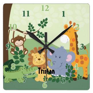 Horloge carrée personnalisable de safari de jungle