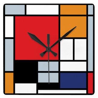 Horloge Carrée Piet Mondrian - composition avec le grand avion