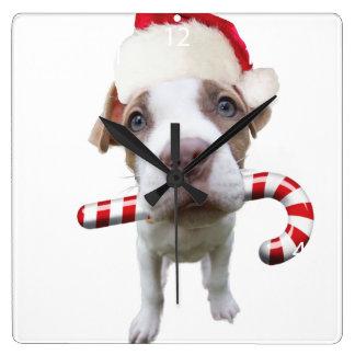 Horloge Carrée Pitbull de Noël - pitbull de père Noël - chien de