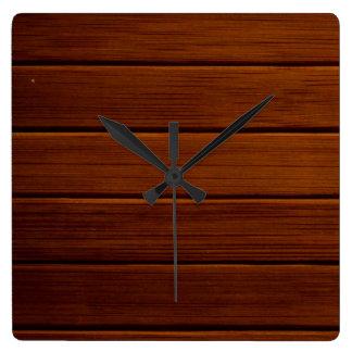 Horloge Carrée Planches en bois, écorces, panneaux, mur de grange
