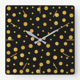 Horloge Carrée Pois élégant - or noir