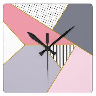 Horloge Carrée Pois géométrique élégant de rayures en pastel