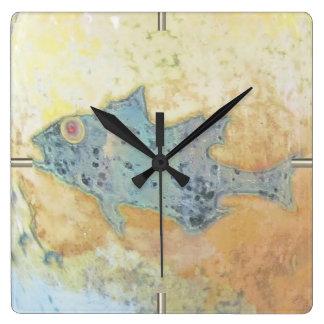 Horloge Carrée Poissons en eau peu profonde