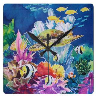 Horloge Carrée Poissons tropicaux d'océan d'horloge murale de