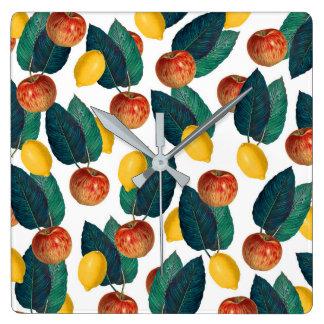 Horloge Carrée Pommes et citrons