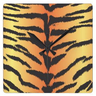 Horloge Carrée Poster de animal, rayures de tigre - orange noire