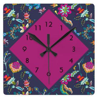 Horloge Carrée Pourpre élégant et or de bleu marine floraux