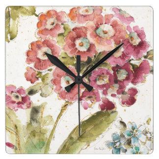 Horloge Carrée Primevère rose