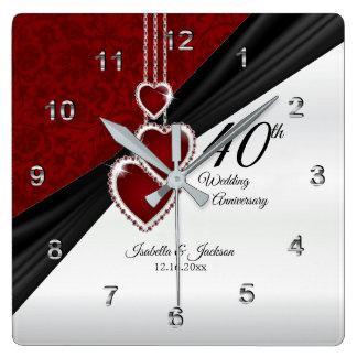 Horloge Carrée quarantième Souvenir rouge d'anniversaire de