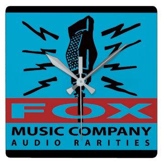 Horloge Carrée Raretés d'audio de Fox Music Company