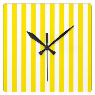 Horloge Carrée Rayures jaunes verticales
