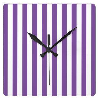 Horloge Carrée Rayures pourpres verticales