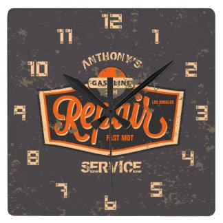 Horloge Carrée Rétro garage grunge vintage