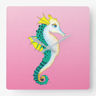 Horloge Carrée rose turquoise d'hippocampe