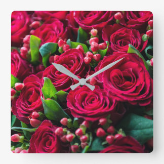 Horloge Carrée Roses rouges