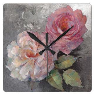 Horloge Carrée Roses sur le gris