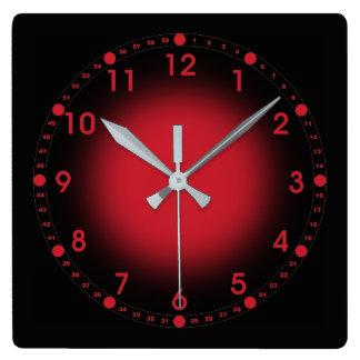 Horloge Carrée Rouge au néon