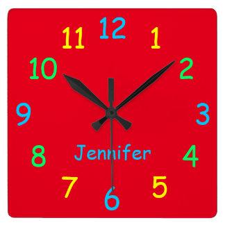 Horloge Carrée Rouge gai fait sur commande personnalisé coloré