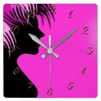 Horloge Carrée salon de Coiffeur-beauté
