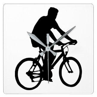 Horloge Carrée Silhouette de cycliste