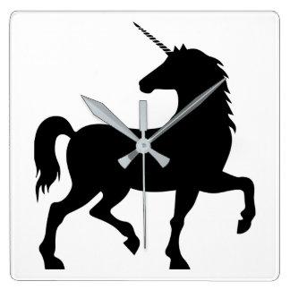 Horloge Carrée Silhouette de licorne