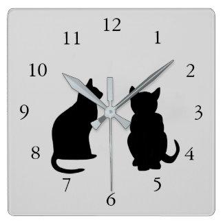 Horloge Carrée Silhouettes modernes de chat, animaux familiers
