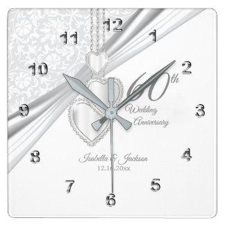 Horloge Carrée soixantième Souvenir d'anniversaire de noces de