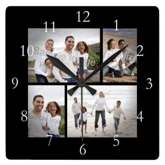 Horloge Carrée Souvenir de collage de quatre photos