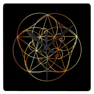Horloge Carrée Spirale de Fibonacci la géométrie sacrée