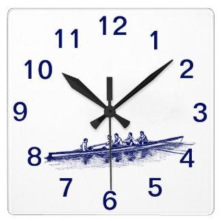 Horloge Carrée Sports aquatiques bleus d'équipe d'équipage de
