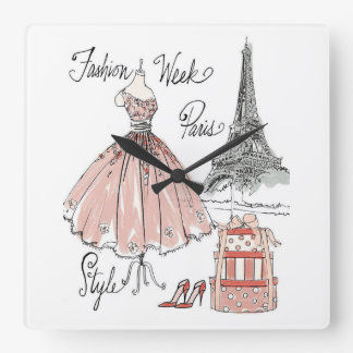 Horloge Carrée Style de semaine de mode d'Apple sauvage | Paris