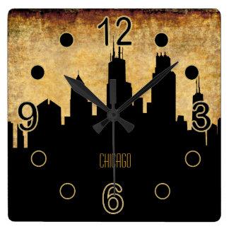 Horloge Carrée Style grunge vintage de l'horizon   de Chicago