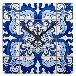 Horloge Carrée Style vitré d'Azulejo de Portugais de tuiles