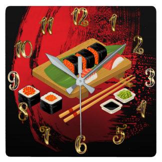 Horloge Carrée Sushi noirs et rouges élégants modernes chics