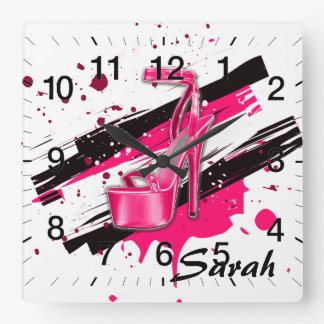 Horloge Carrée Talons hauts chauds de noir, roses et blancs