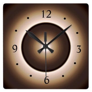 Horloge Carrée Tan/horloge murale de Design>Square lumineuse par