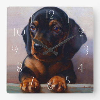 Horloge Carrée Teckel vintage