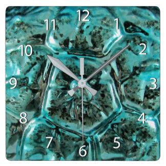 Horloge Carrée Tortue bleue turquoise en verre de bijou de